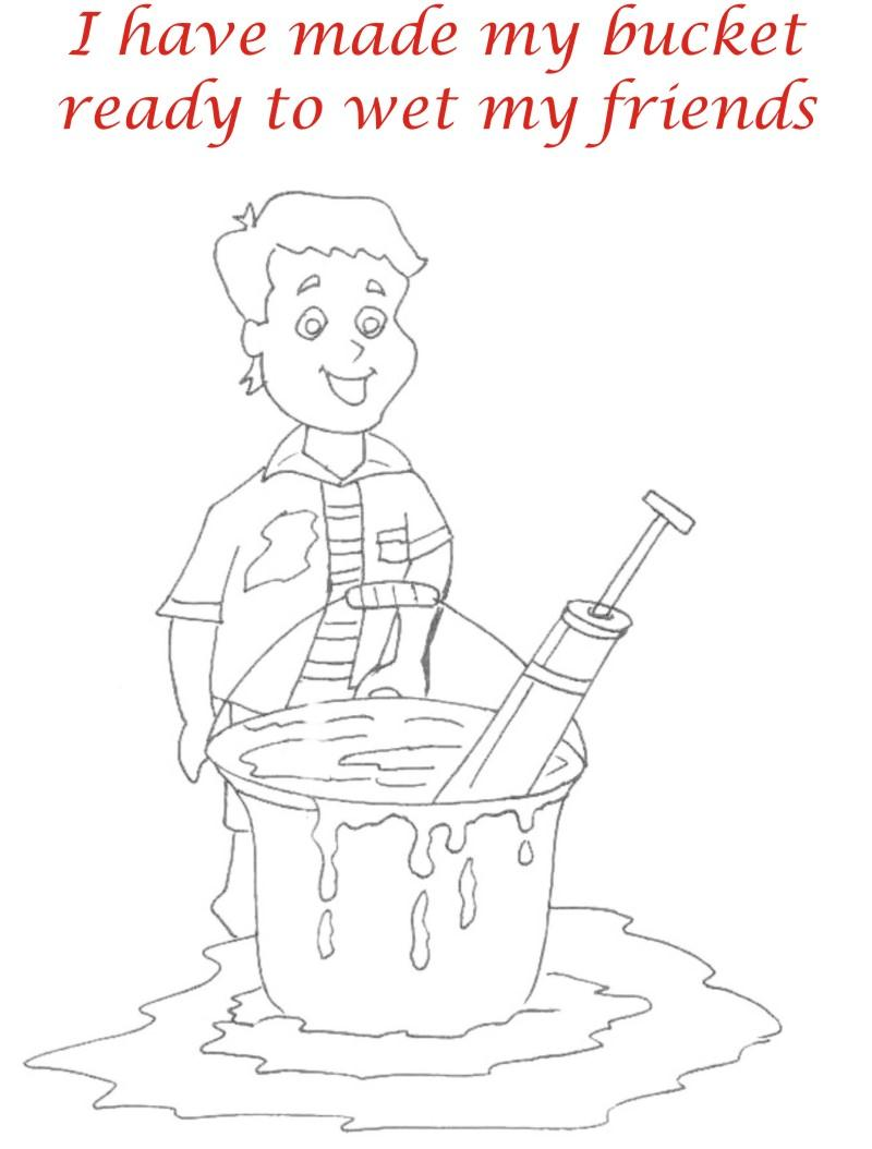 Holi coloring printable pages for kids 10