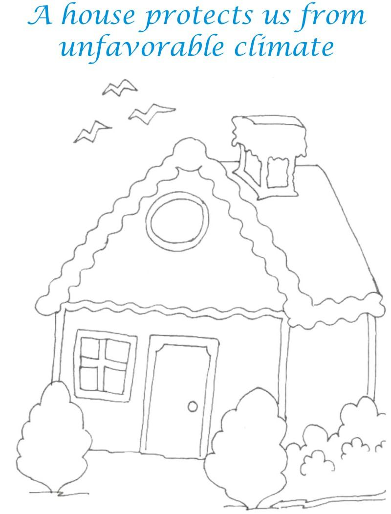Sweet home coloring printable page for kids 7