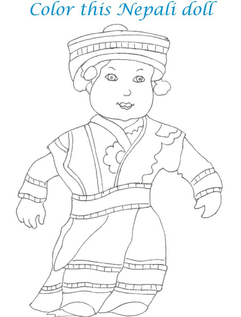 Dolls coloring printable page for kids 6