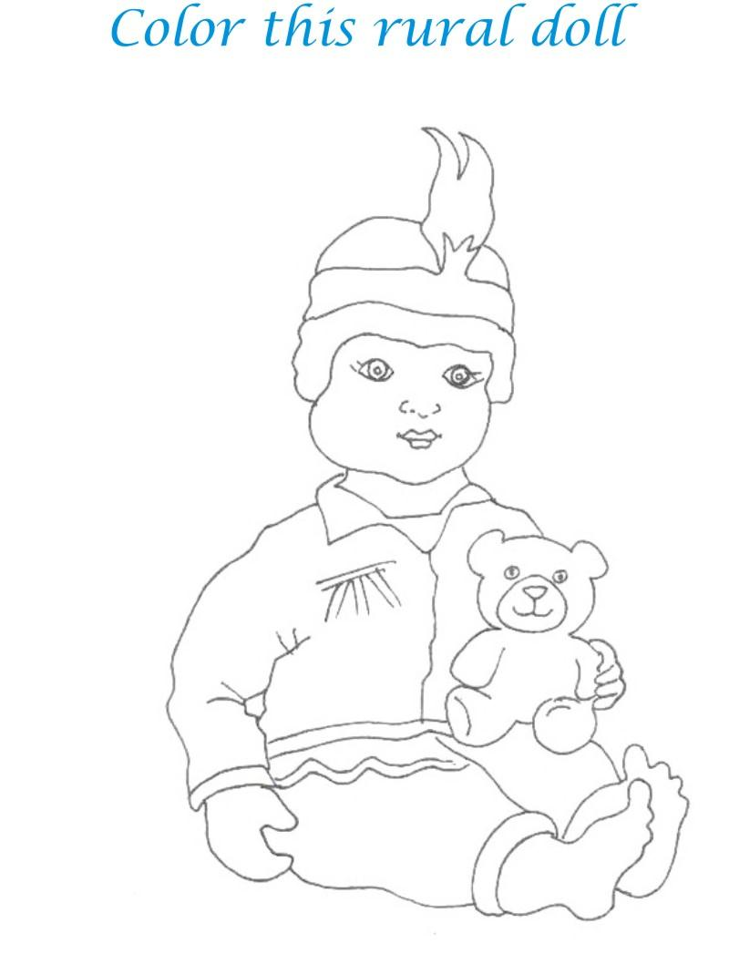Dolls coloring printable page for kids 24