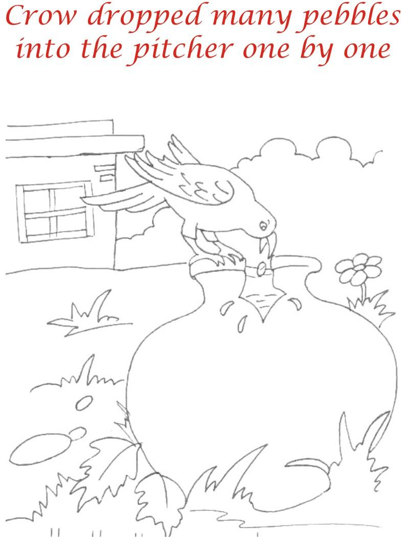 Thirsty crow story coloring page for kids 9
