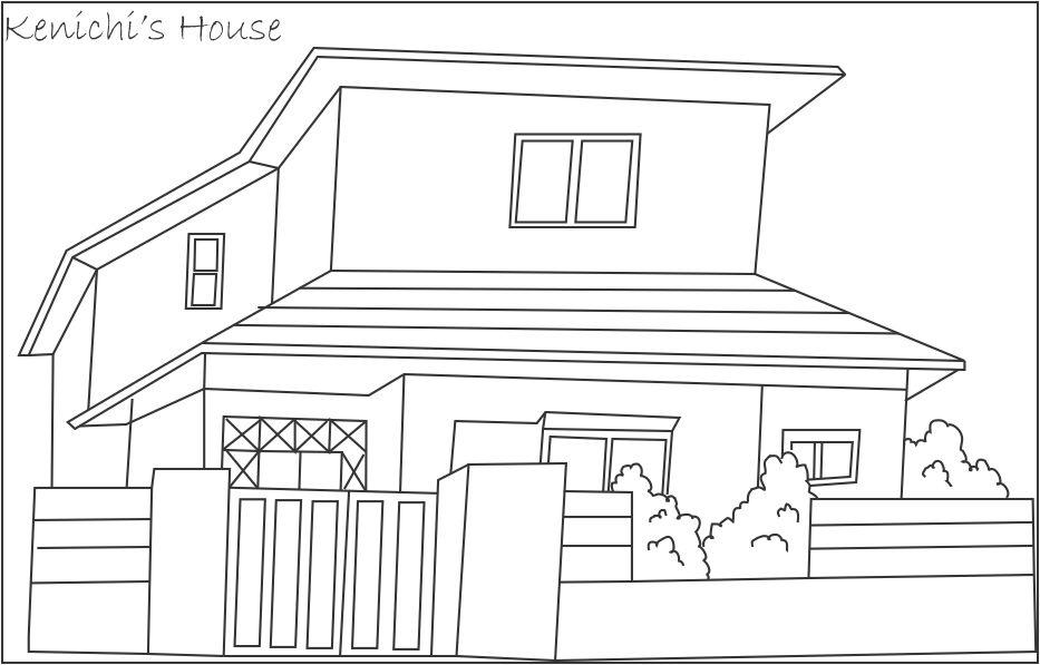 Kenichi 39 s house coloring page for kids - Dessin de maison facile ...