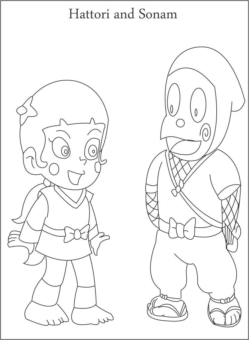 Hattori And Sonam Coloring Page For Kids