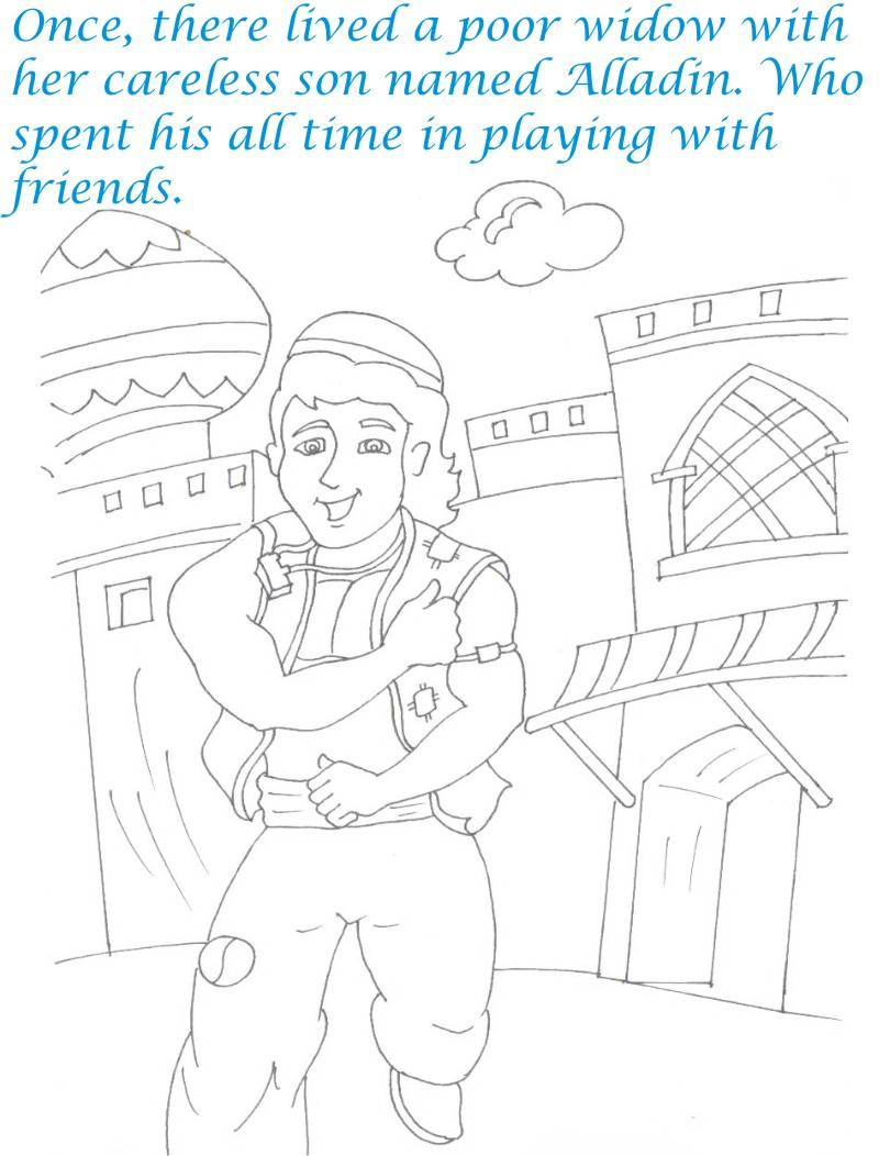 Alladin tales printable coloring page for kids 2