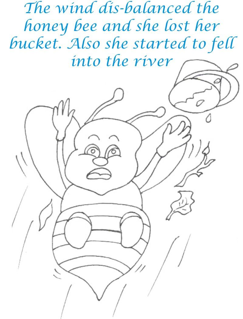 Bee and Dove story coloring page for kids 5