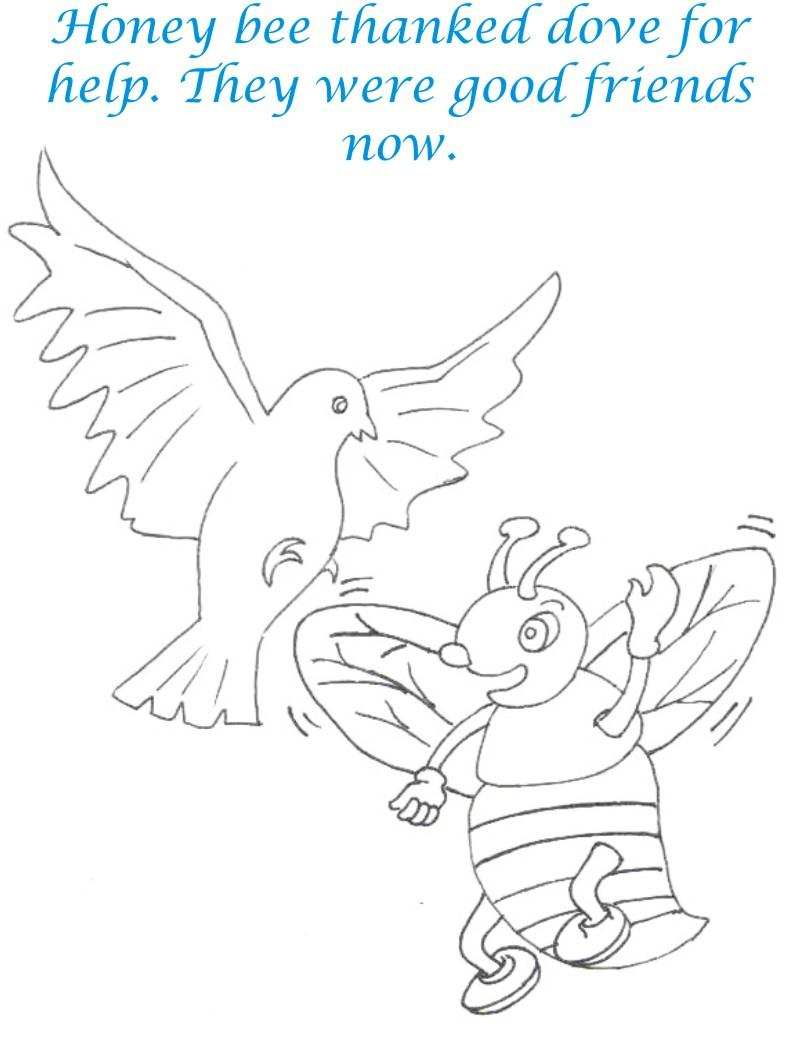 Bee and Dove story coloring page for kids 13