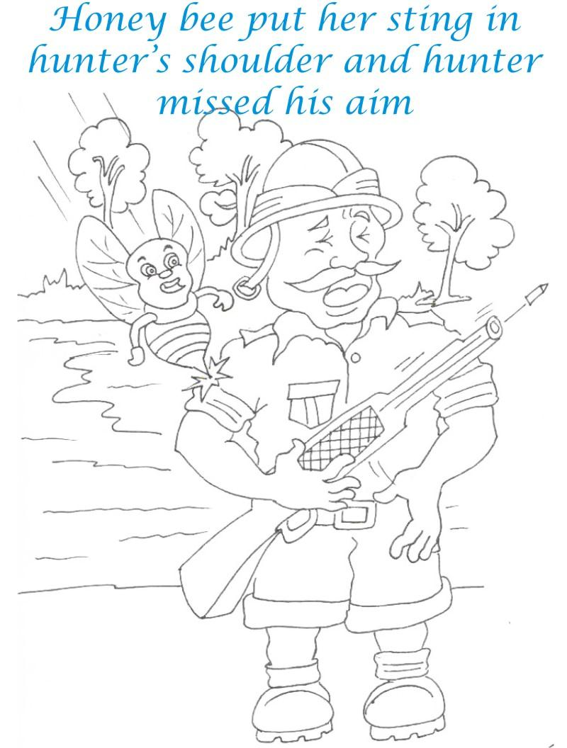 Bee and Dove story coloring page for kids 20
