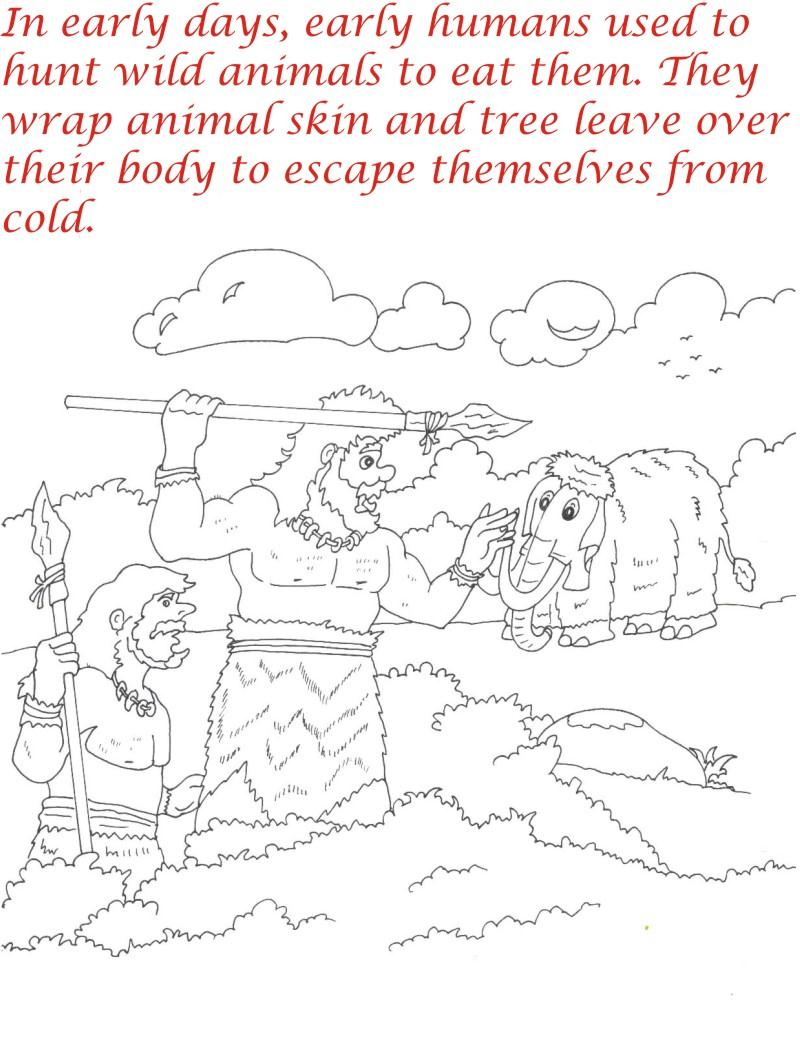 Early Humans printable coloring page for kids 3