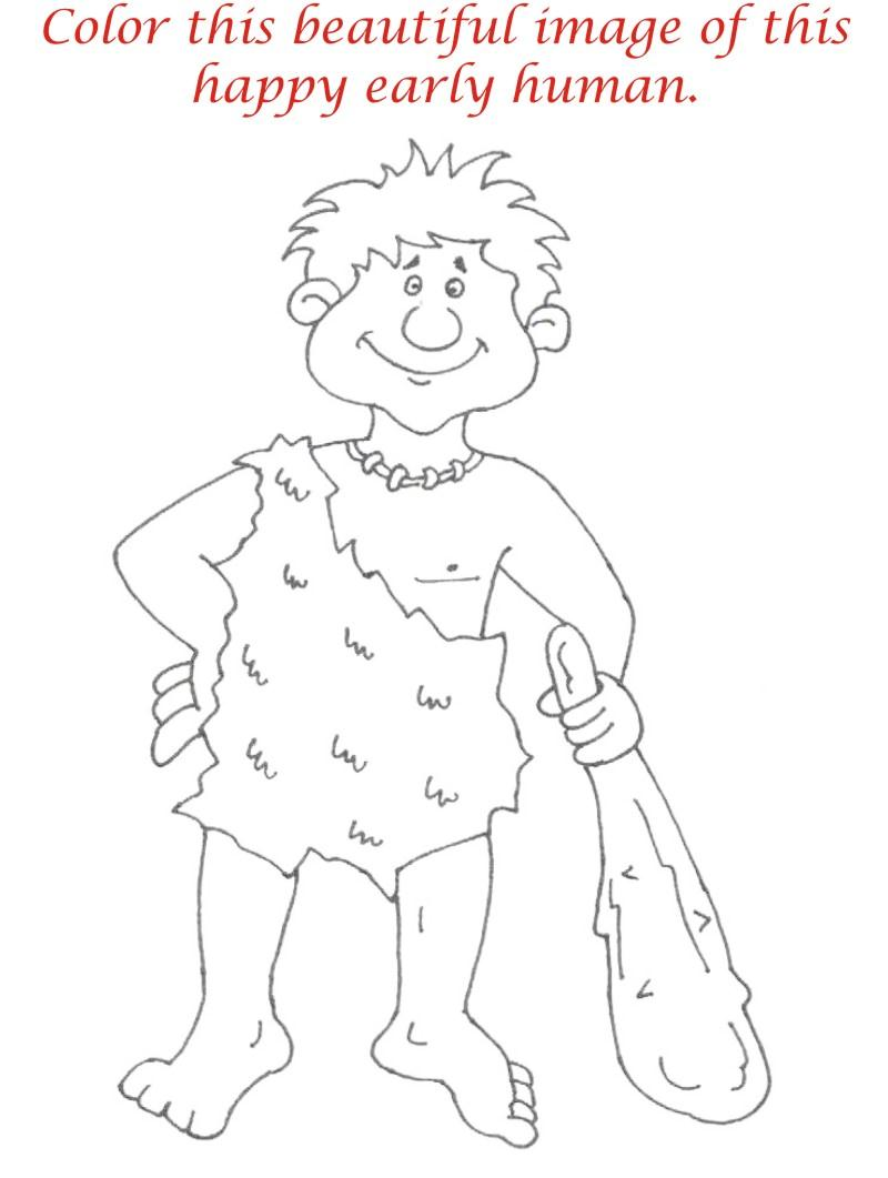 Early Humans printable coloring page for kids 9