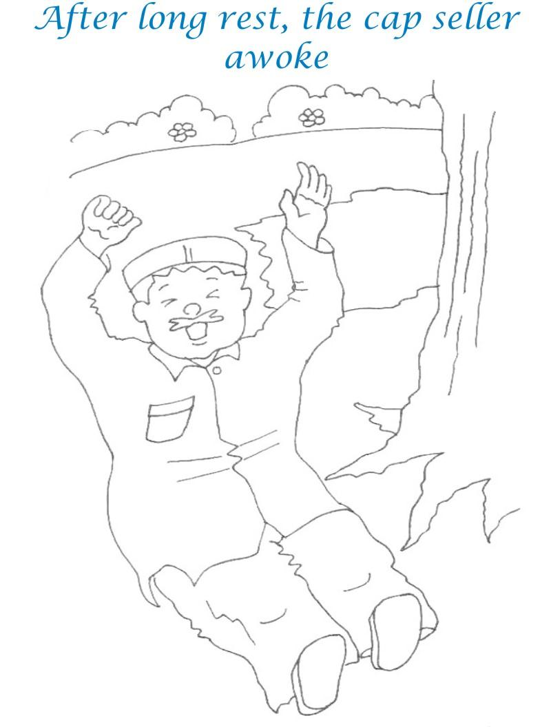 Cap seller story coloring page for kids 14