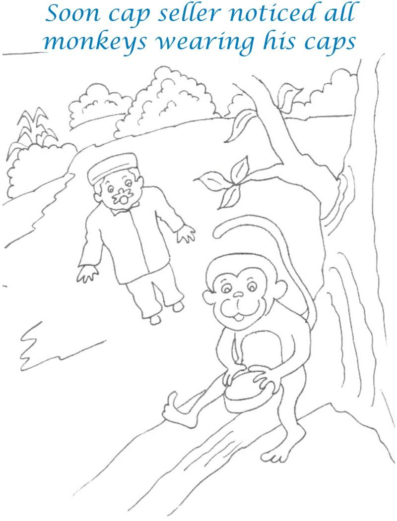 Cap seller story coloring page for kids 16