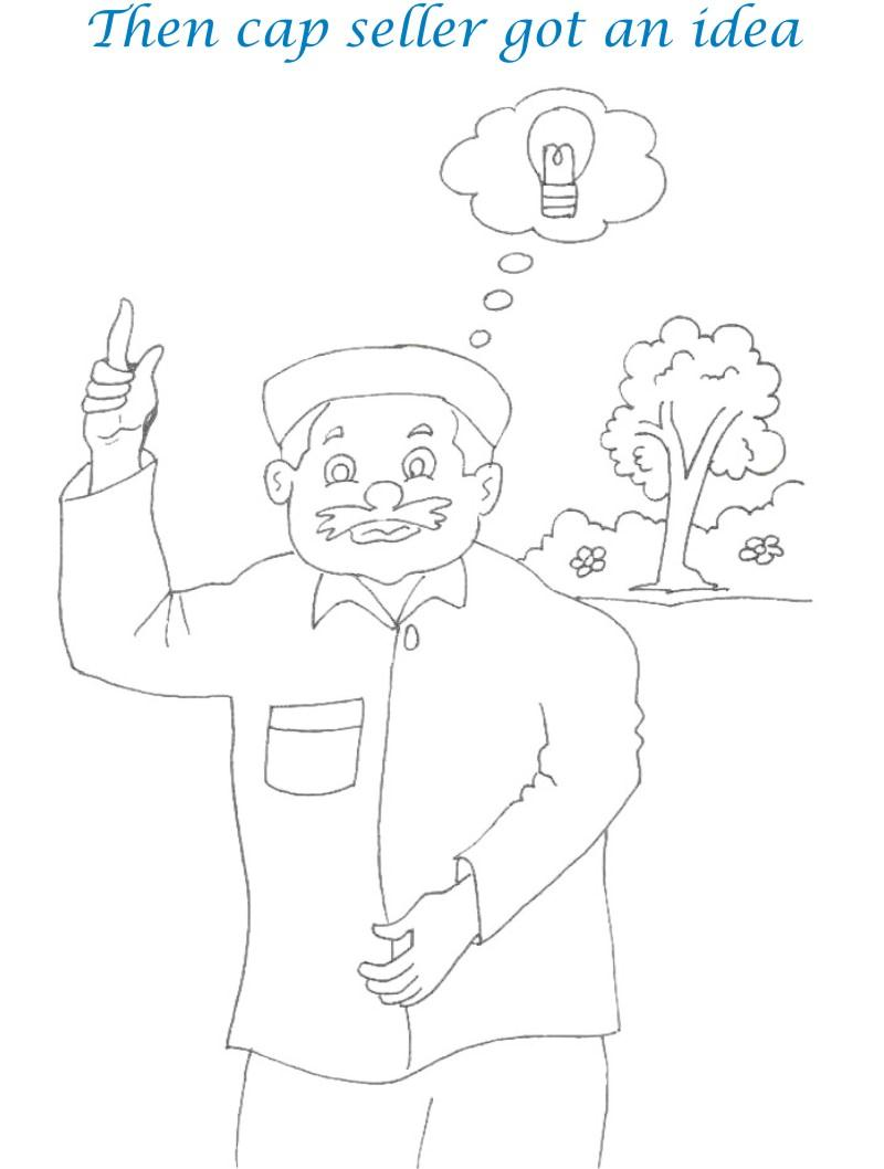 Cap seller story coloring page for kids 18