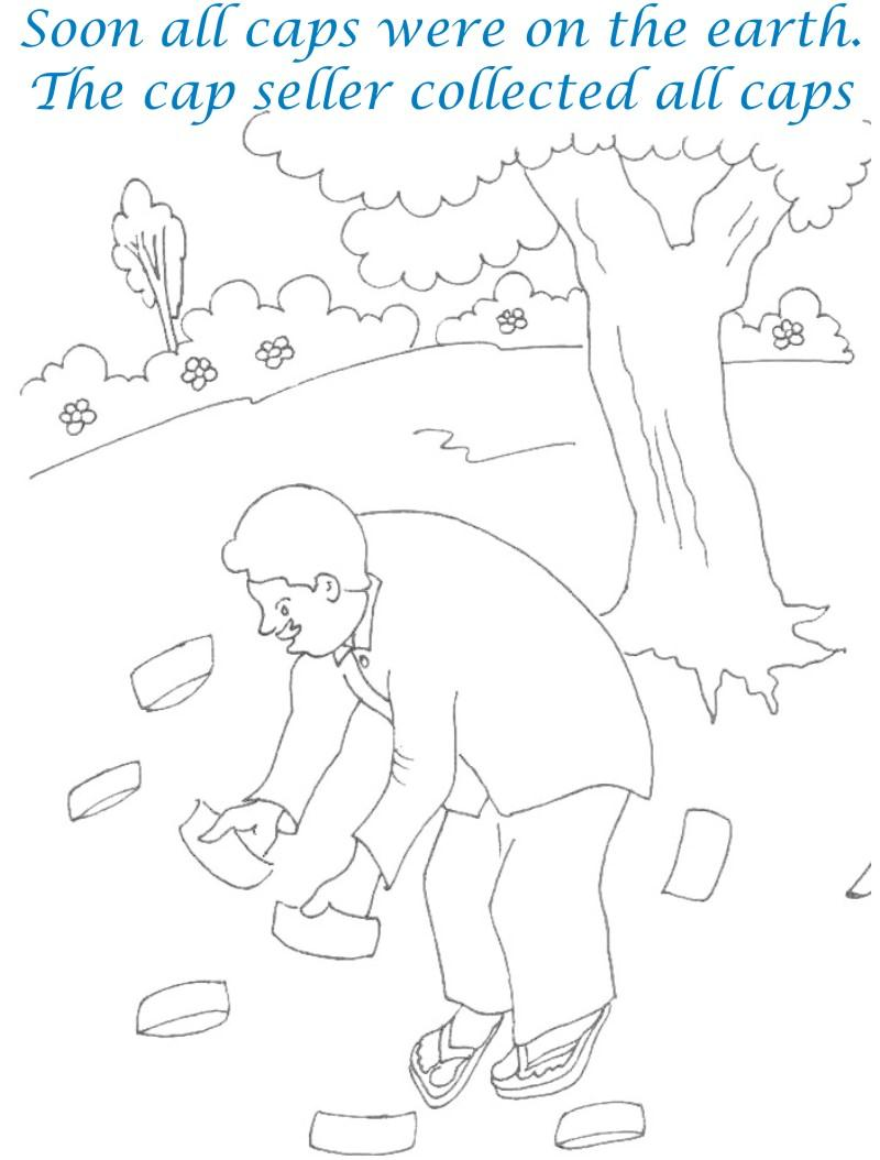 Cap seller story coloring page for kids 22