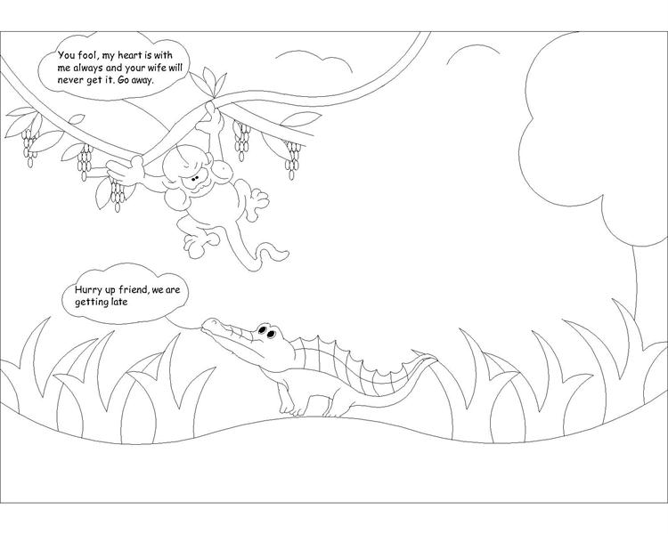 The Monkey and the Crocodile story coloring page 6