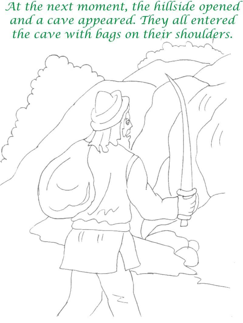 Alibaba story printable coloring page for kids 12