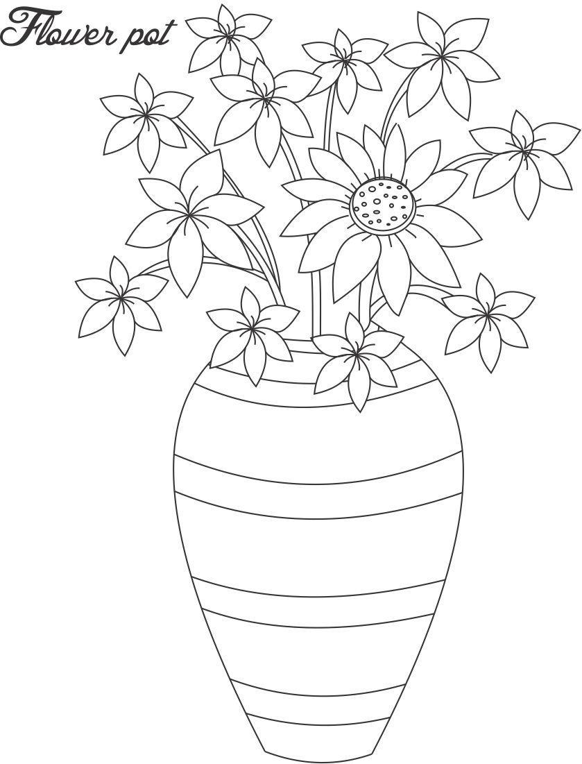 Flower Pot Coloring Page 13