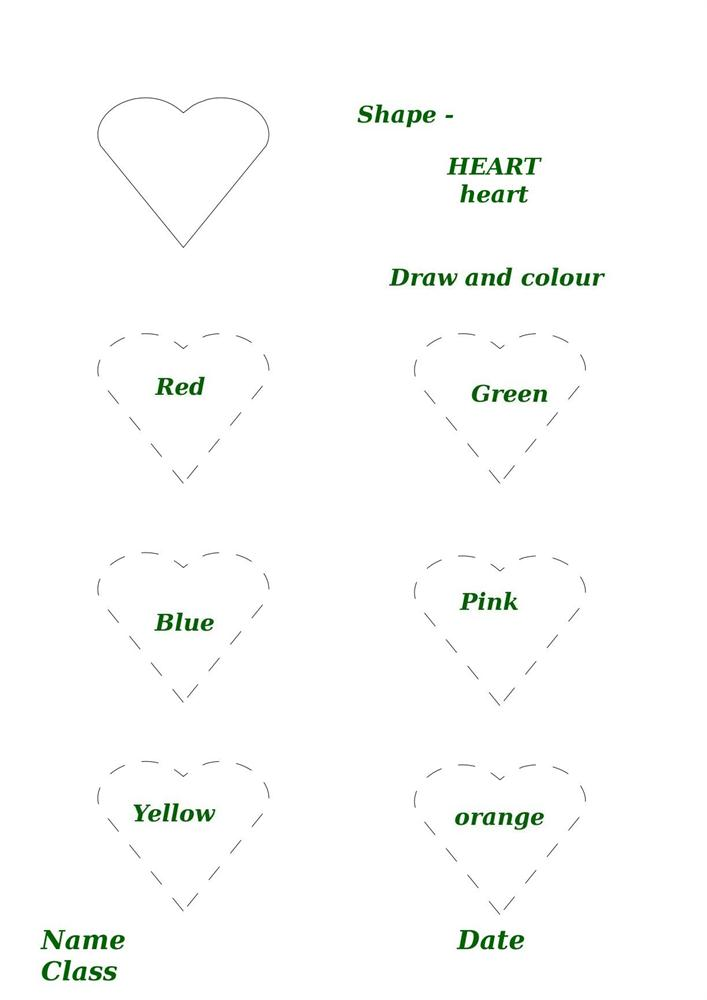 Shape activity worksheet heart