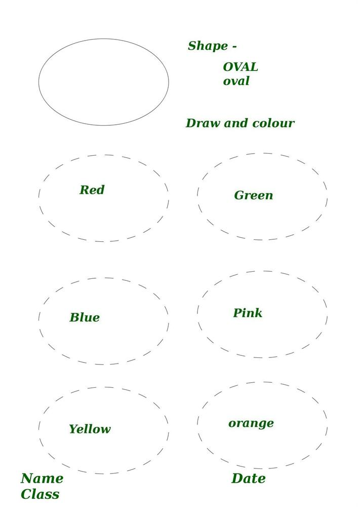 Shape activity worksheet oval