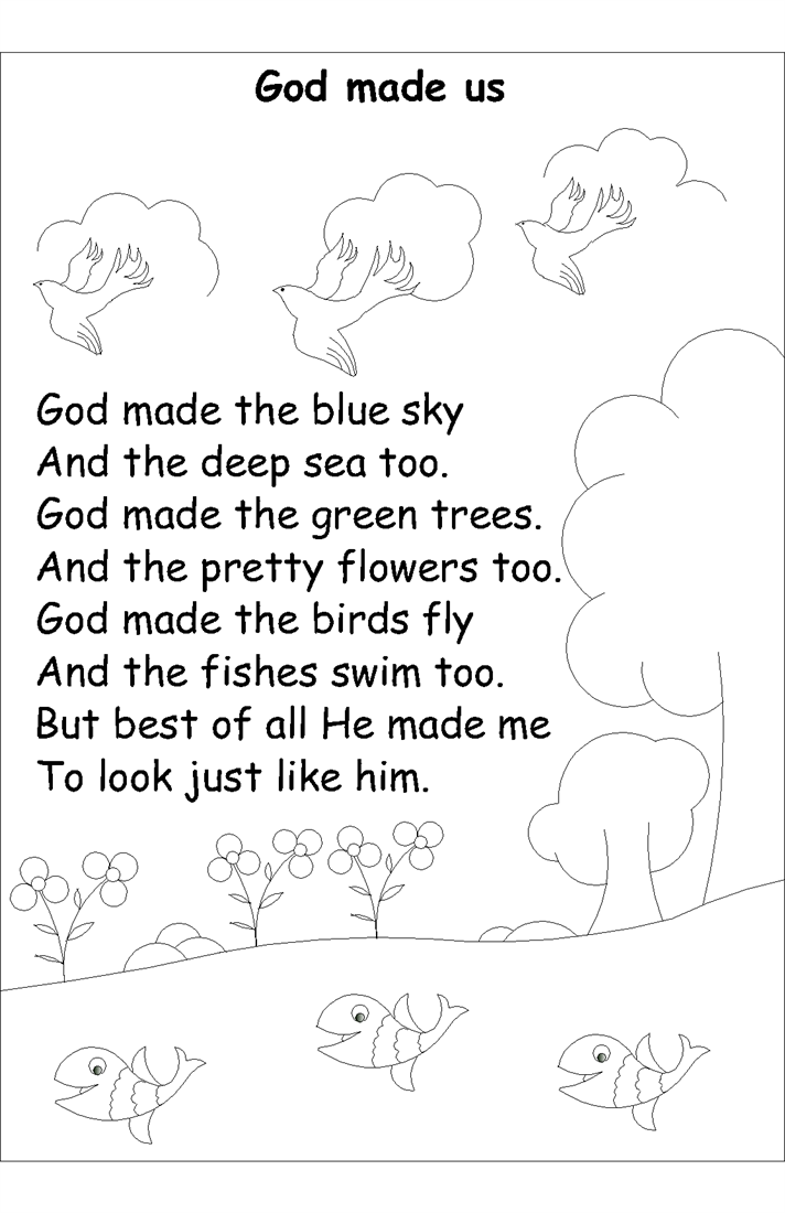 Nursery rhyme coloring pages- God made us