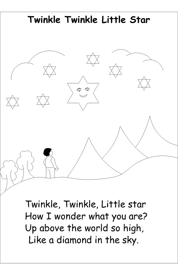 Nursery rhyme coloring pages- Twinkle Twinkle little star