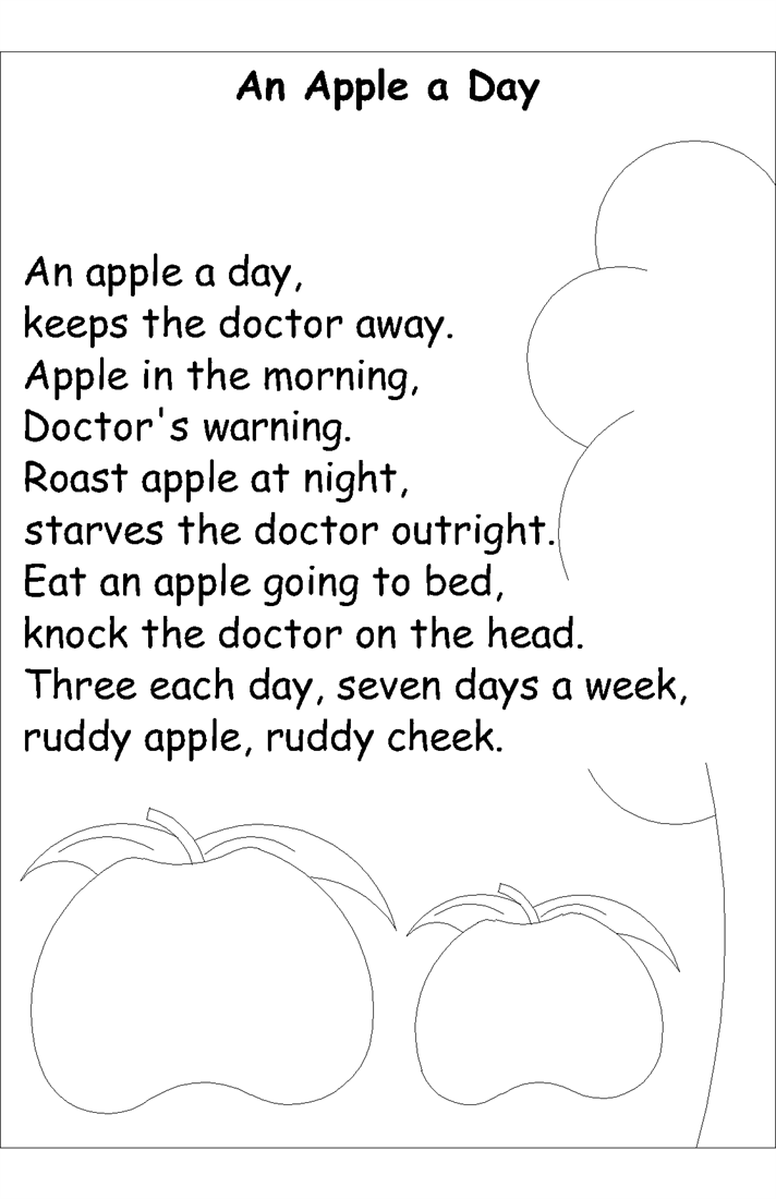 Nursery rhyme coloring pages- An apple a day