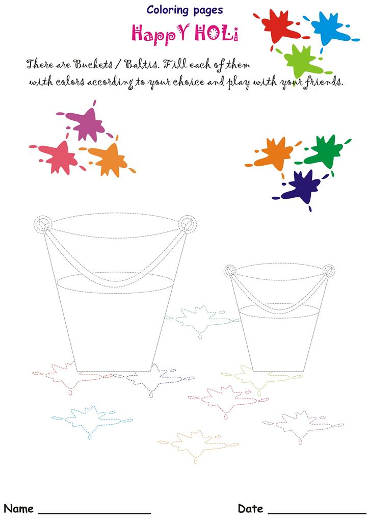 The colorful festival - HOLI - The coloring buckets