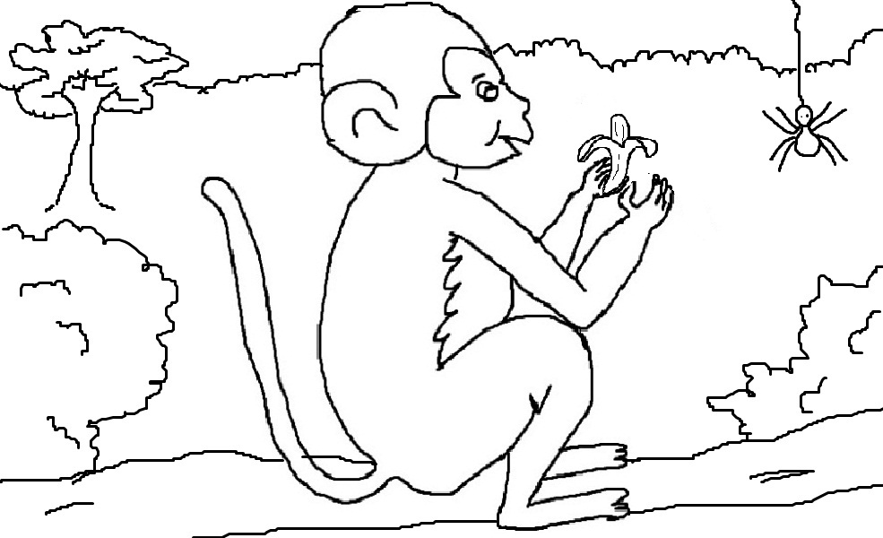 Monkey eating banana coloring page