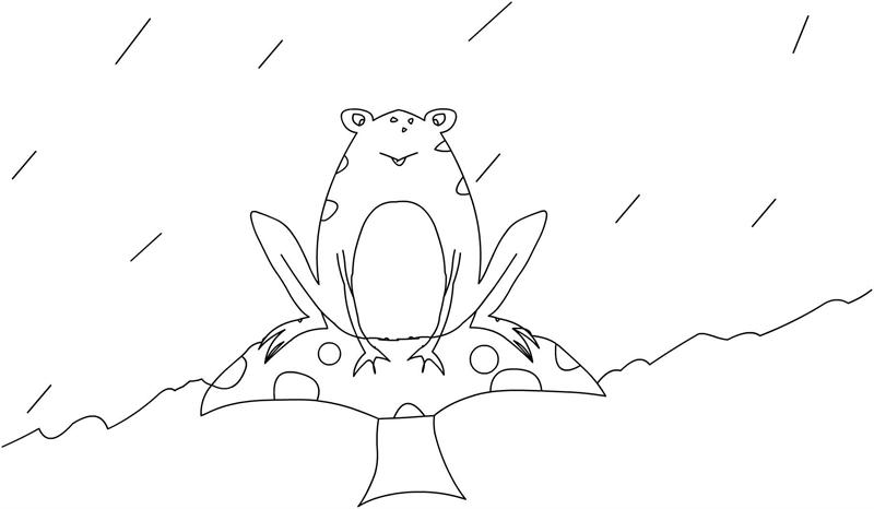 Frog sitting on a Mushroom coloring page
