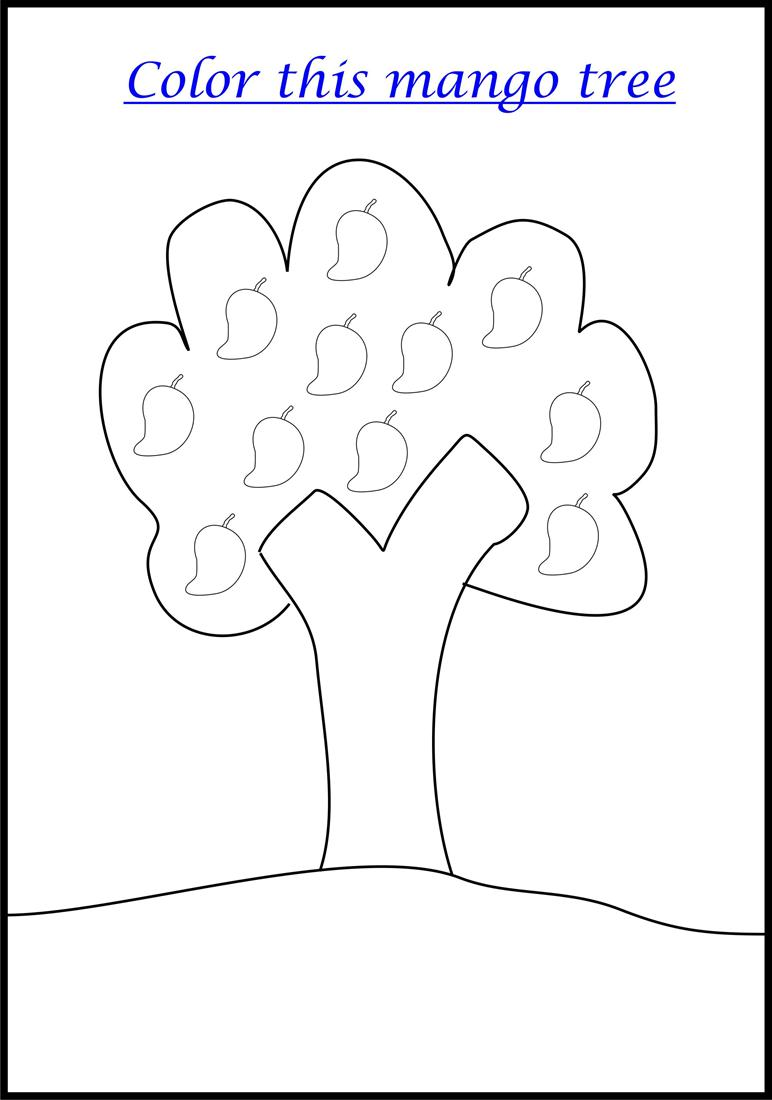 Mango Tree coloring page printable for kids
