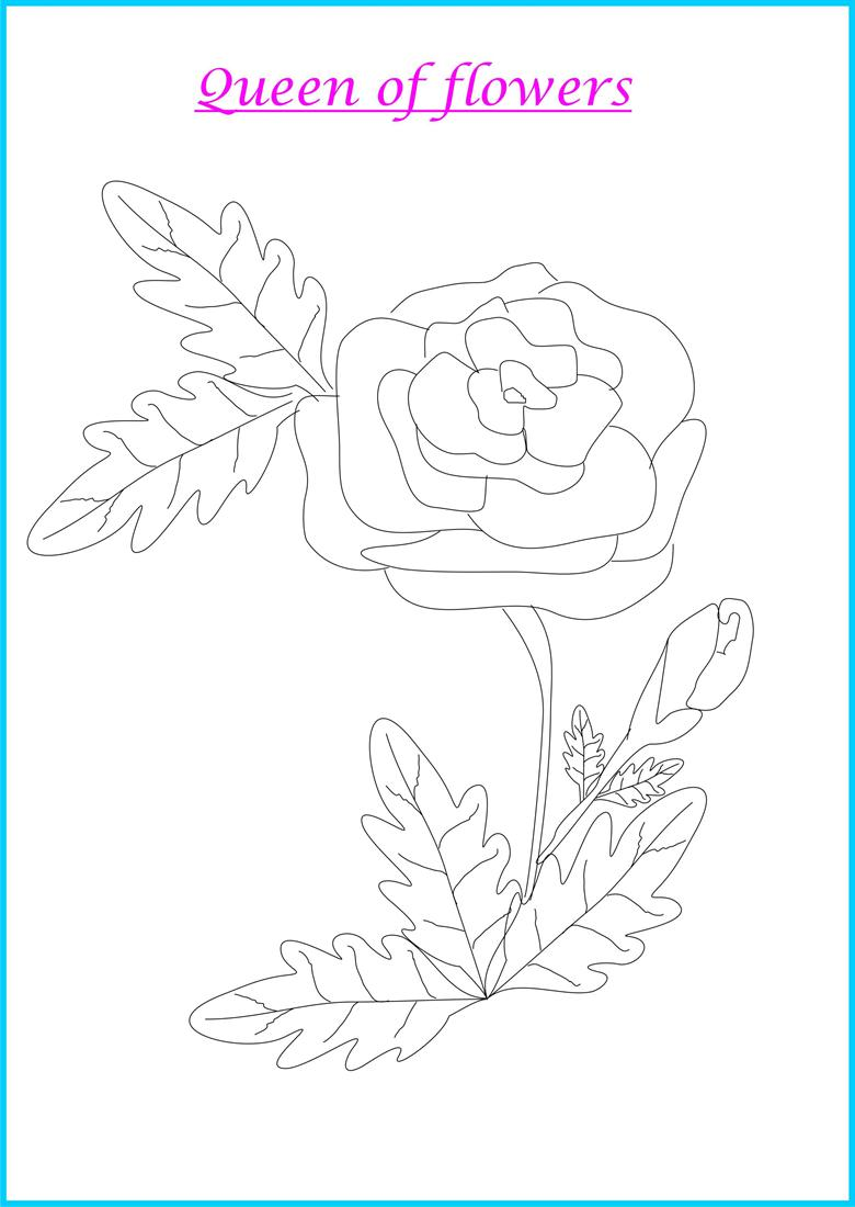 Rose coloring printable page for kids