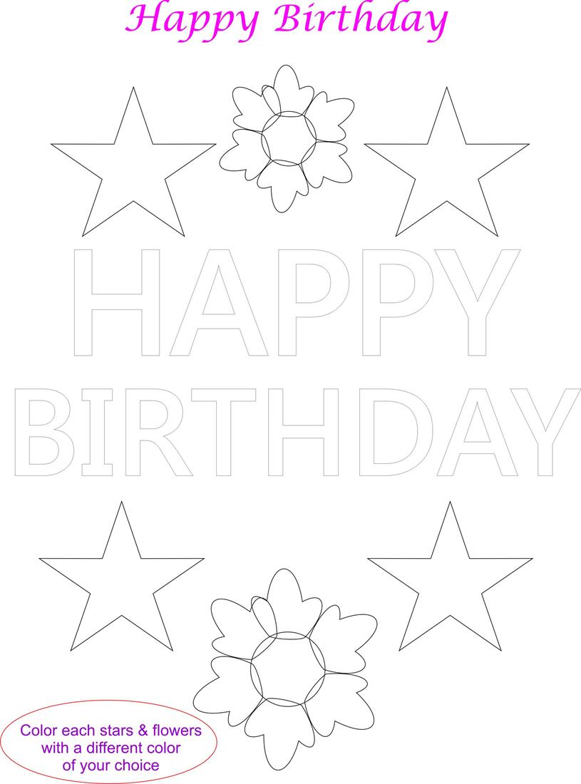 - Happy Birthday Card Coloring Page For Kids