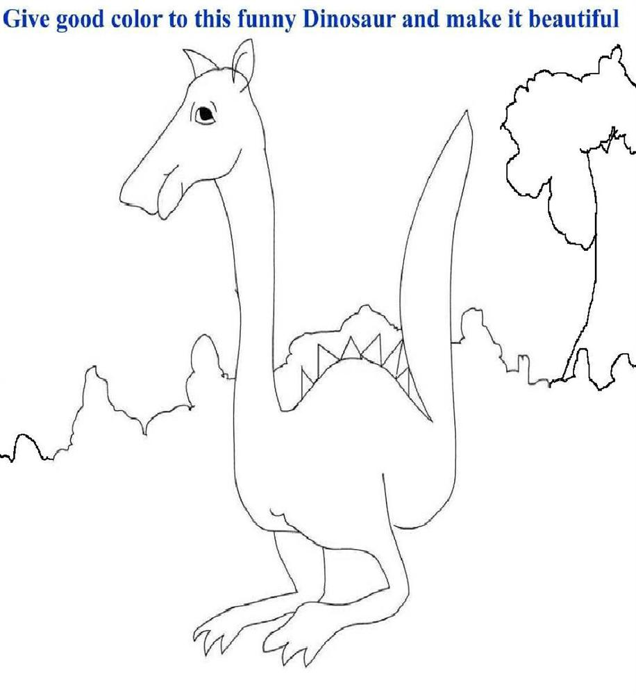Funny Dinosaur coloring page for kids
