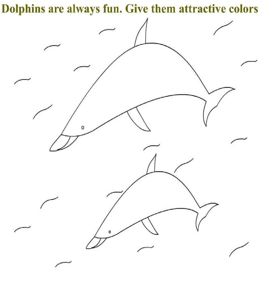 Dolphins coloring page for kids