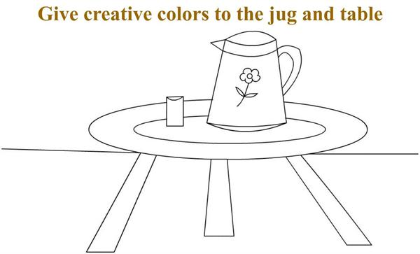 Jug on a table coloring printable page