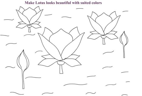 Lotus in pond coloring page printable for kids
