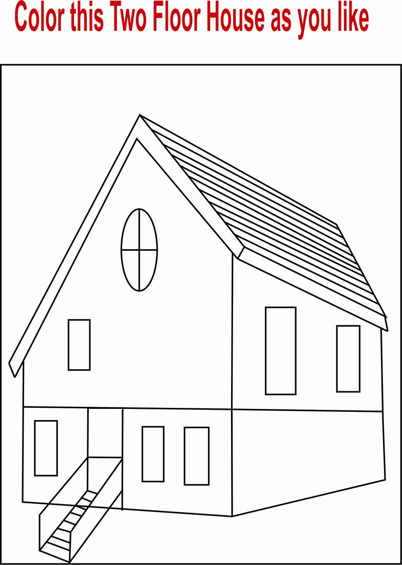 Two Floor House coloring page printable