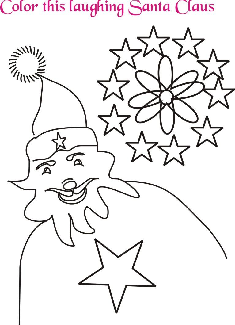 Laughing Santa coloring printable page for kids