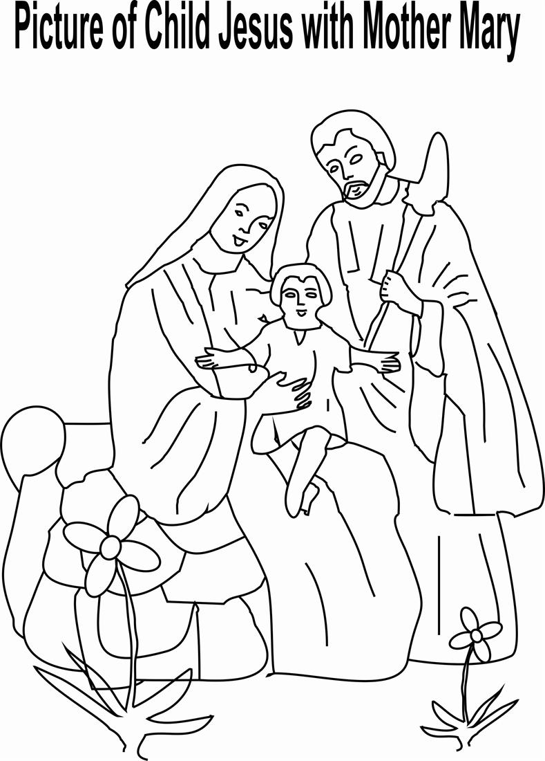 Child Jesus with Mother Mary coloring