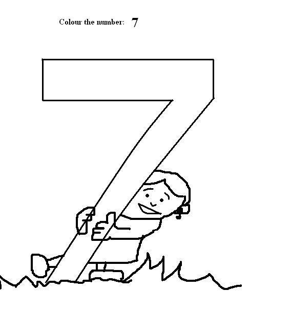 Number 7 coloring printable page for kids