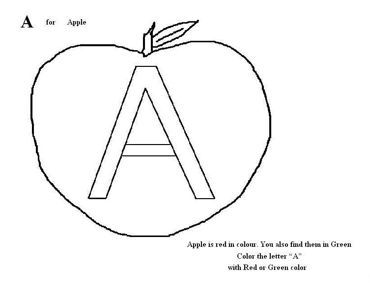 Letter A coloring printable page for kids