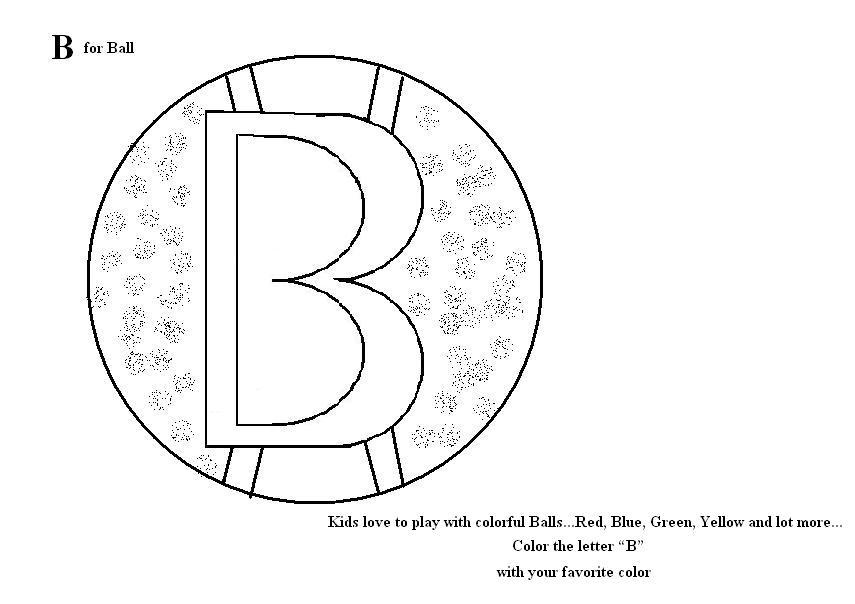 Letter B coloring printable page for kids
