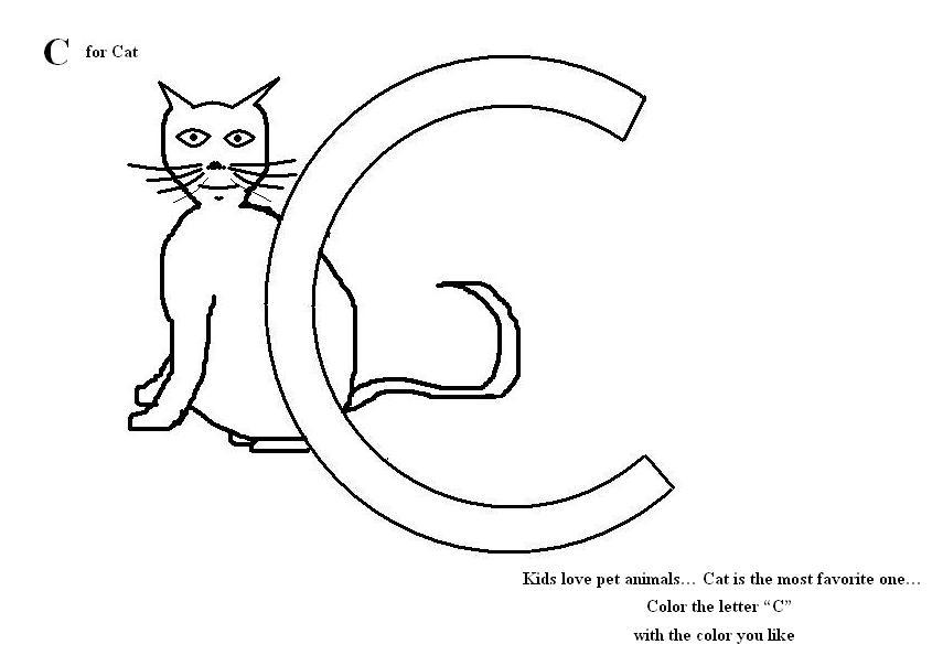 Letter C Coloring Printable Page For Kids