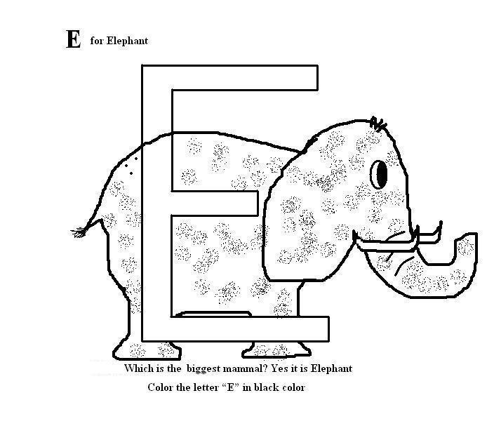 Letter E coloring printable page for kids