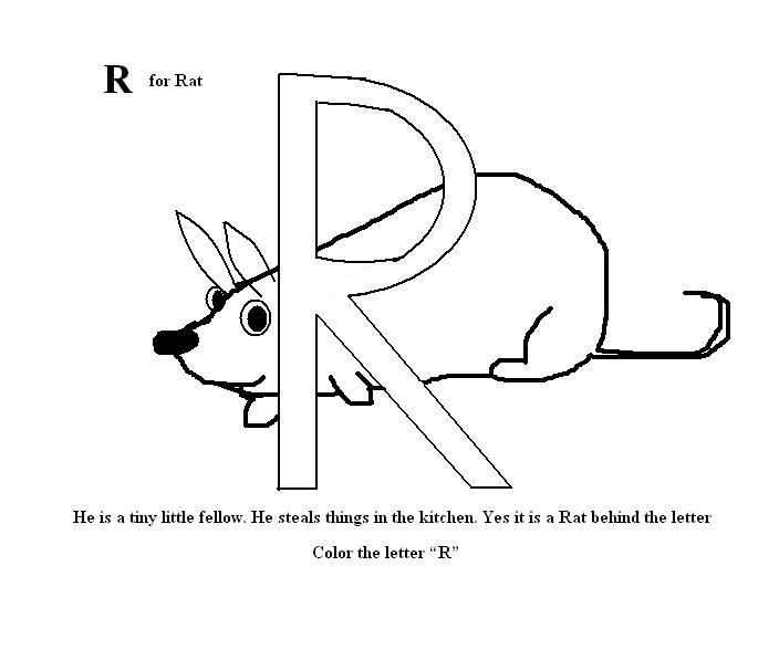 Letter R coloring printable page for kids