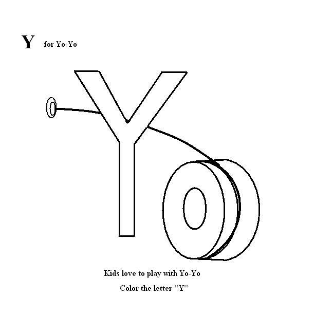 Letter Y coloring printable page for kids
