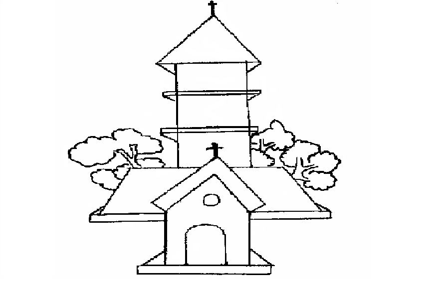 Church coloring printable page for kids