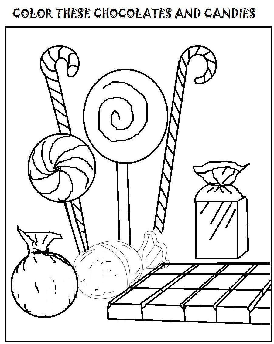 Chocolates and candies coloring page for kids