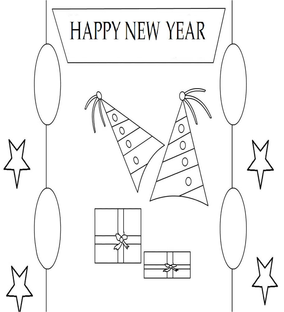 New year gifts coloring printable page for kids