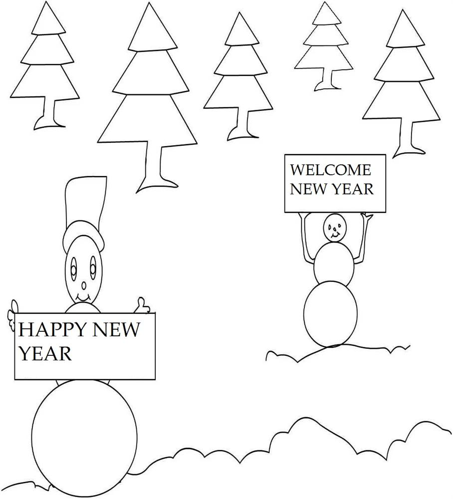 New year snowman coloring printable page for kids