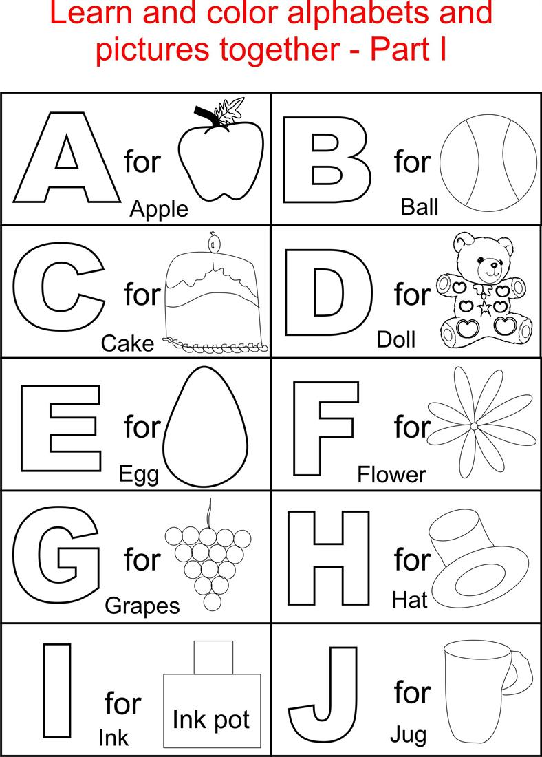 Alphabets coloring printable pages for kids